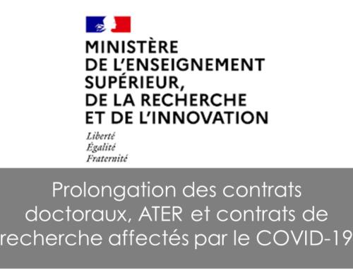 Prolongation des contrats doctoraux, ATER et contrats de recherche affectés par le COVID-19